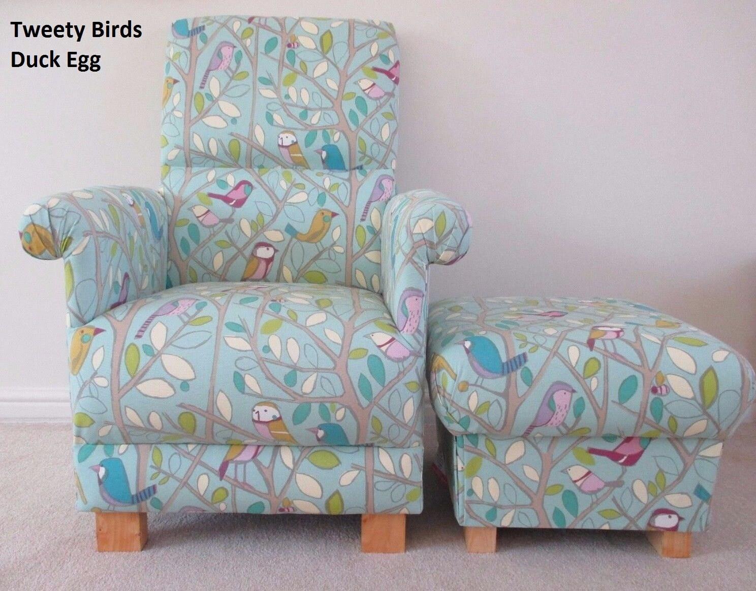 Tweety Birds Fabric Adult Chair  Footstool Nursery Armchair Duck Egg Bird Pouffe Bedroom Accent Lilac Green