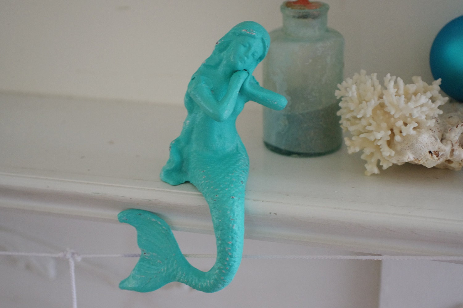 Beach Decor Cast Iron Mantel Mermaid  - PICK YOUR COLOR