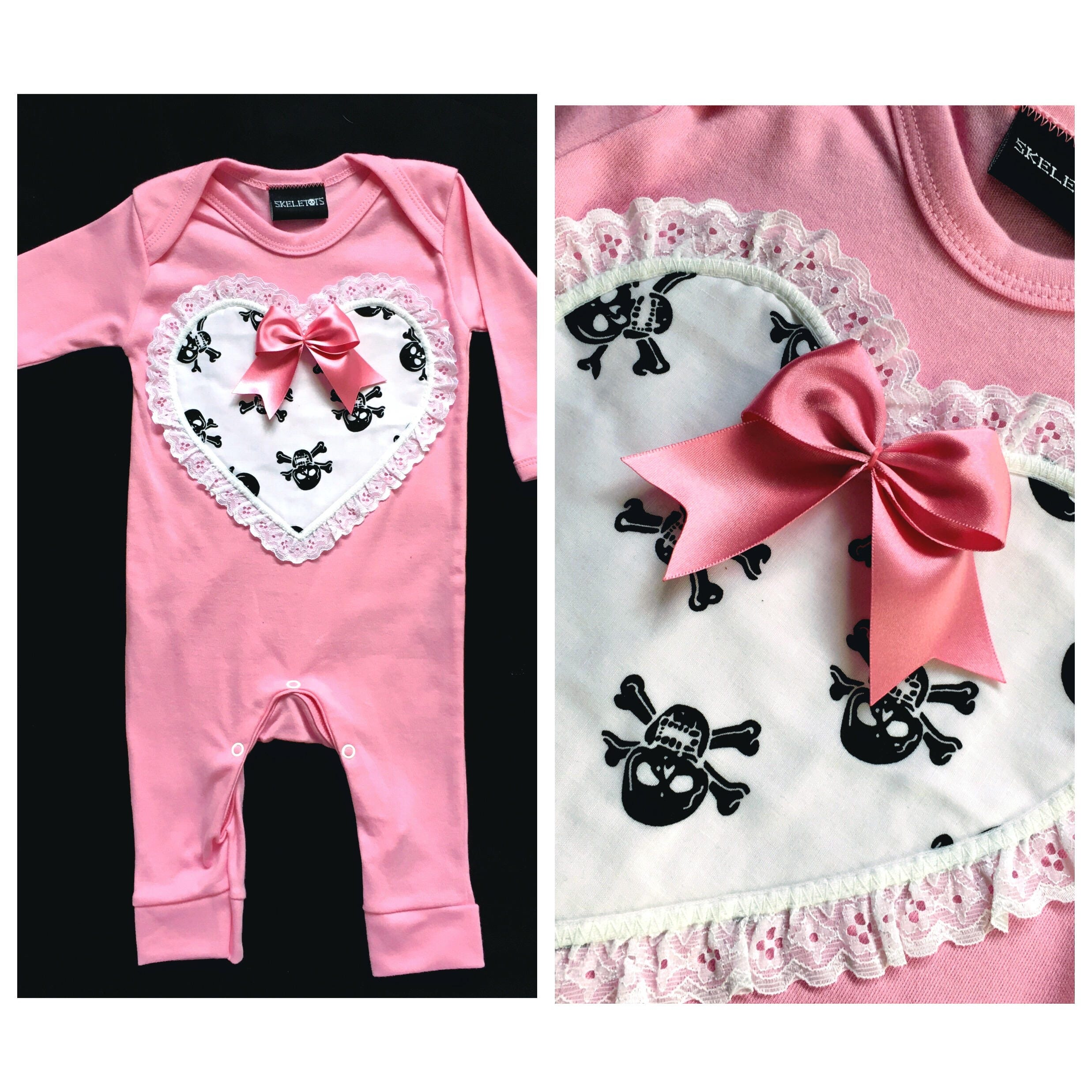Skeletots pink  white skull footless romper lace rock baby goth 03m to 12m