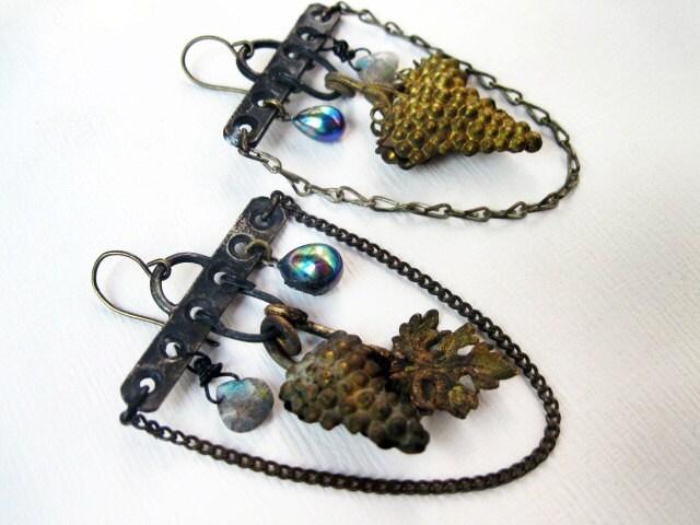 Blood of the Vine. Rustic Gypsy Victorian Tribal Grape Chandelier Earrings.