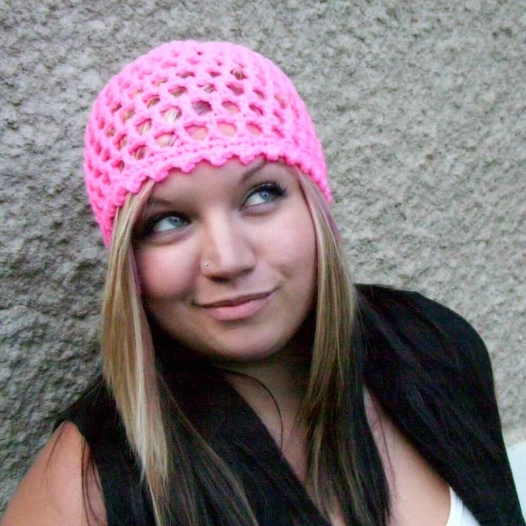 Crochet  Peek A Boo Beanie -Shocking Pink