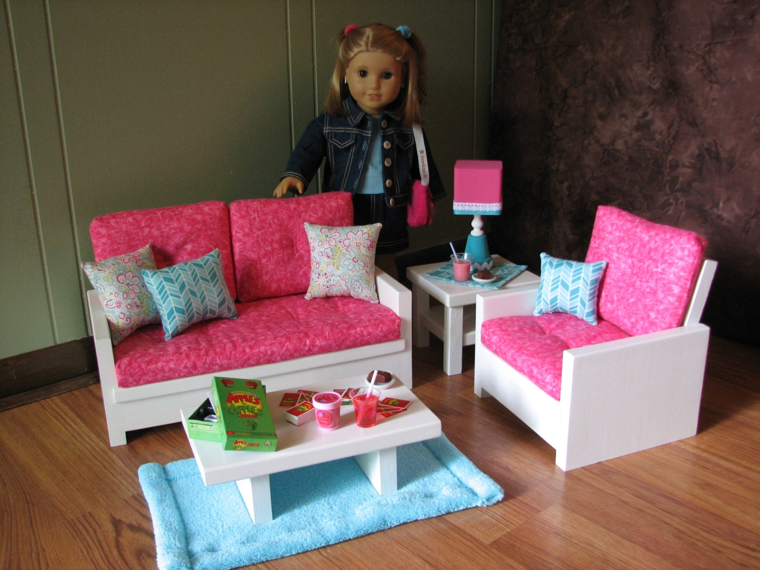 18 Doll Furniture American Girl Sized Living By