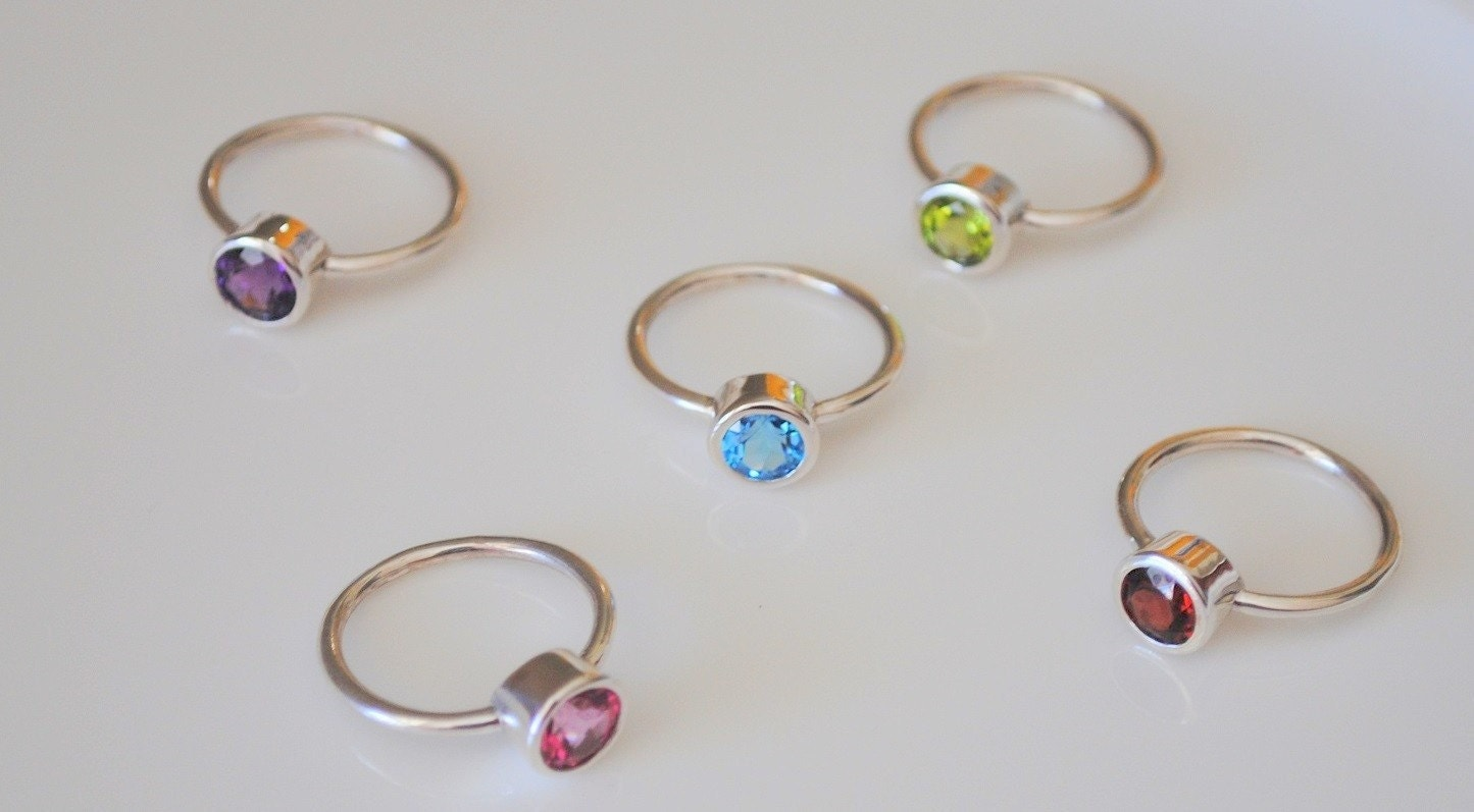 Rainbow Bezel Rings