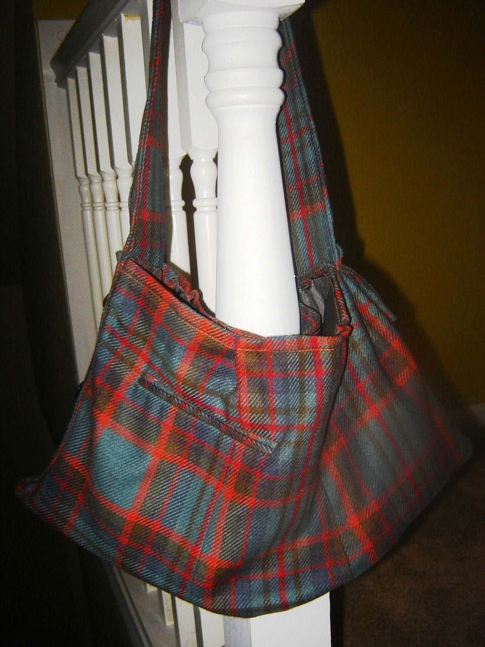 Plaid  Wool Coat Upcycled into OOAK Roomy Handbag Purse
