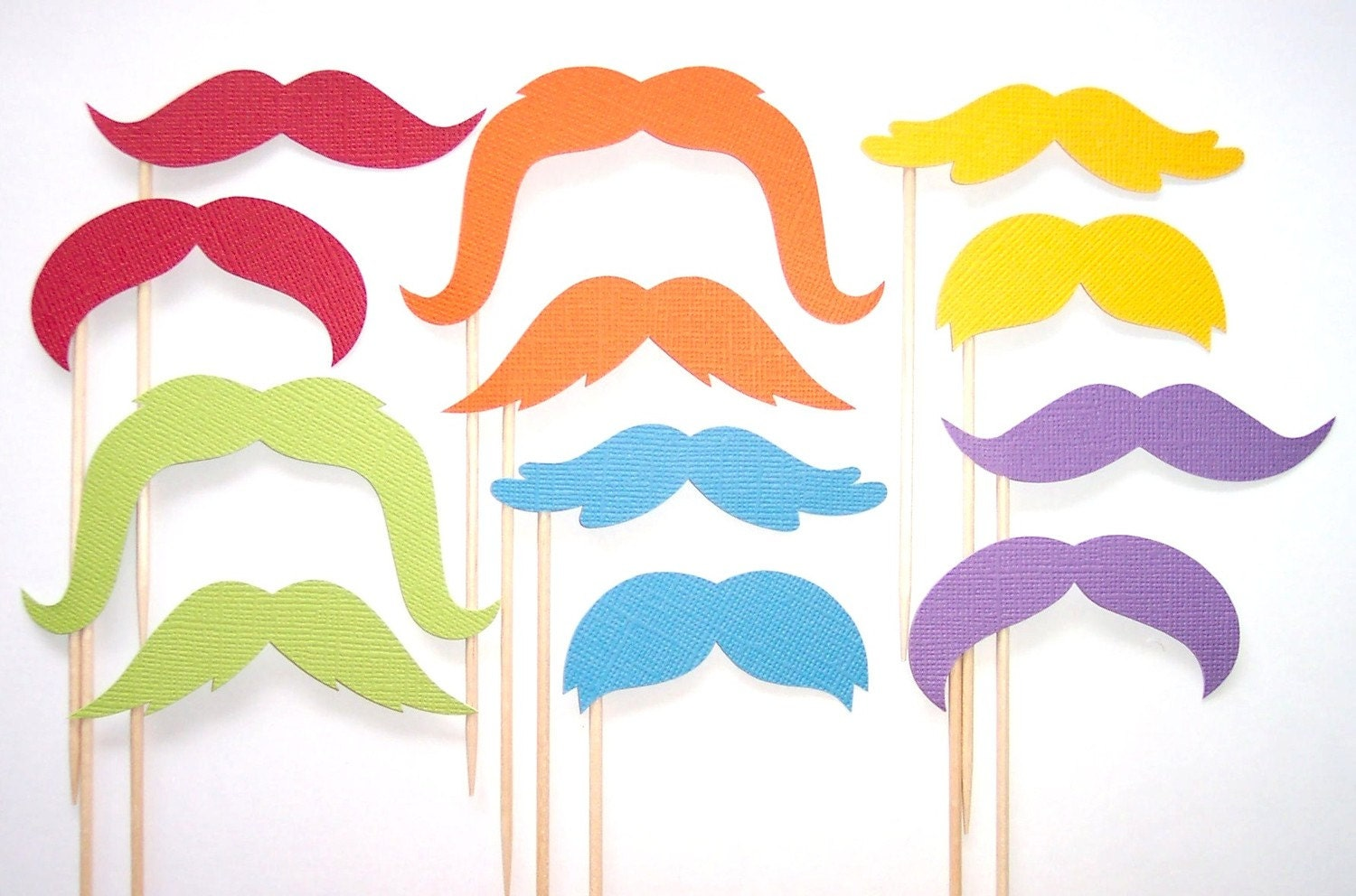 Mustache on a Stick - Rainbow Cupcake Toppers - Set of 12 Picks
