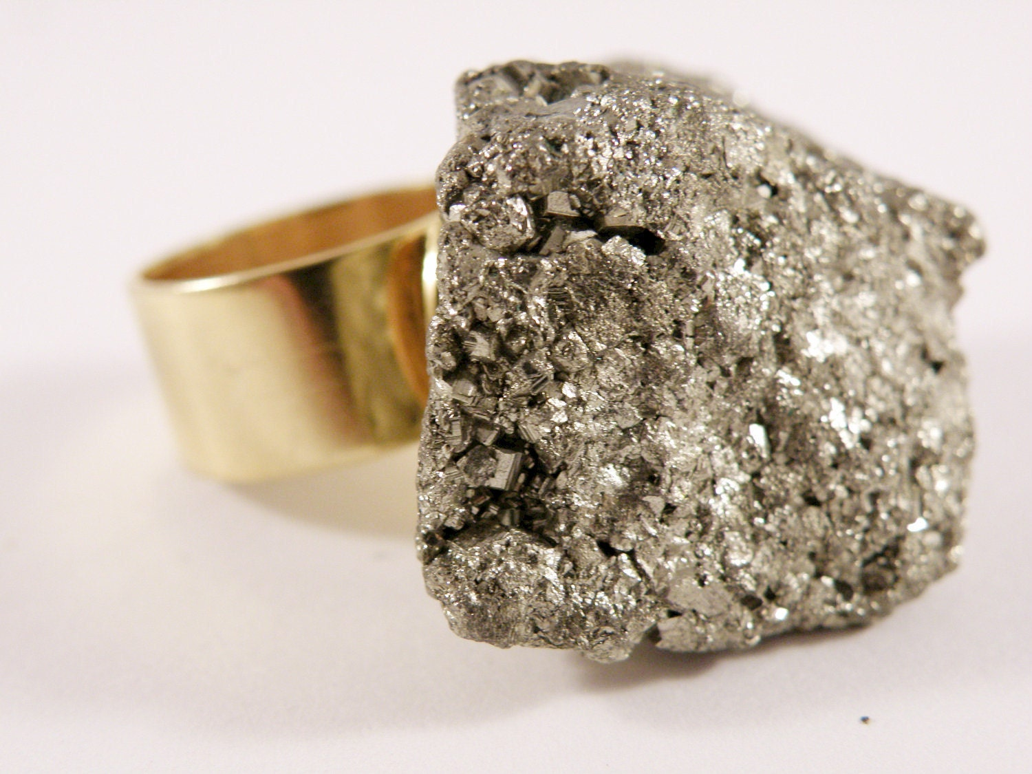 2 Day Sale-Ready to Ship-Pyrite Druzy Ring