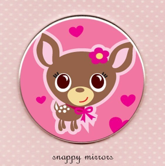 Deery Me - hot pink - Pocket Mirror