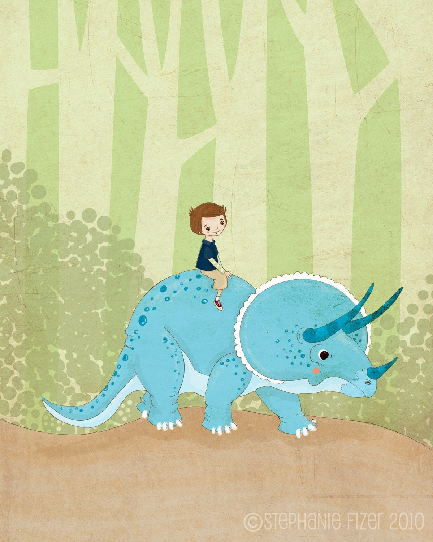 A Boy and His Dinosaur Print