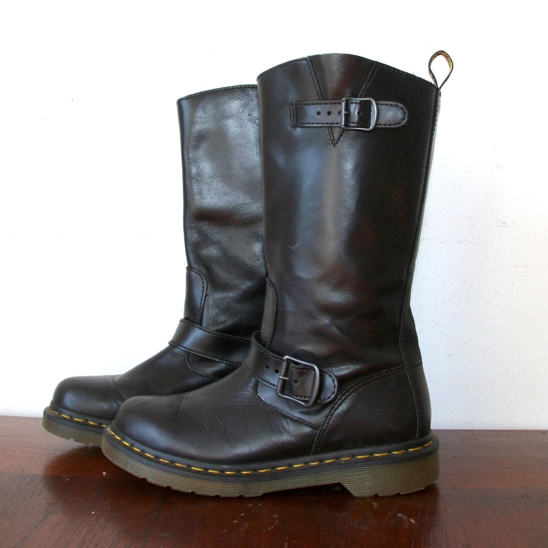 90s doc marten black leather combat boots sz by