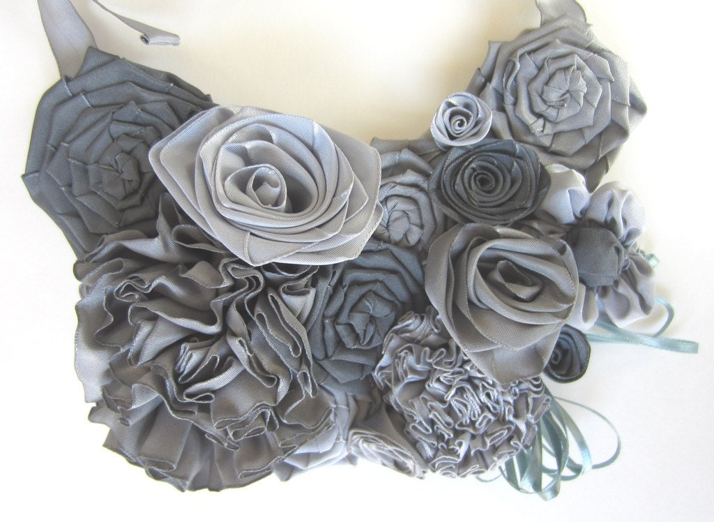Ribbon flower bib statement necklace: French ribbon flowers in gray hues -- shades of gray that won't tie you up - AmyDidIt
