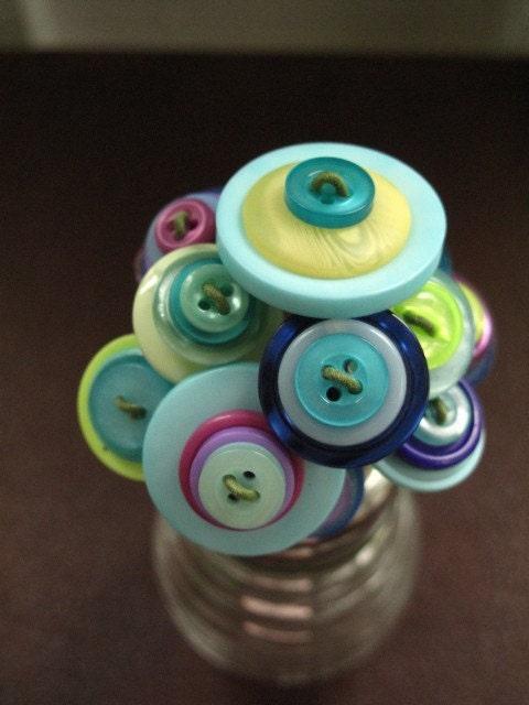 Beehive Button Bouquet - Blue, Green, Purple, Yellow