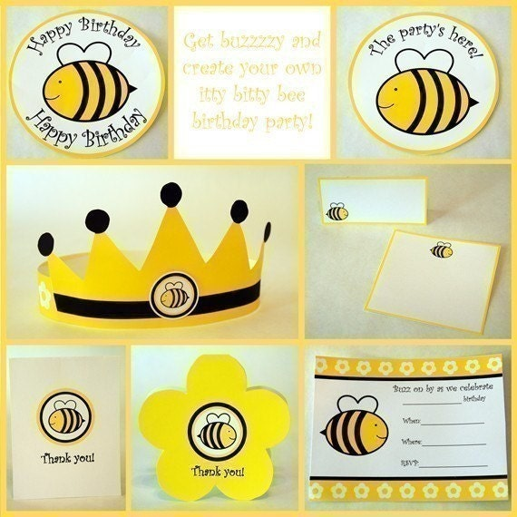 And You Can Buy An Entire Itty Bitty Bee Printable Party Pack For Just 10 From Parties By Hardie Get Everything Invitations Thank Notes