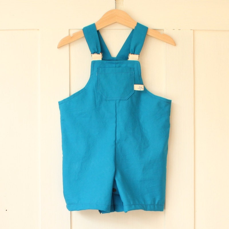 Boys dungarees, blue dungarees, ocean blue, blue shorts, summer dungarees, boy overall, baby boy dungarees - MangeToutBaby