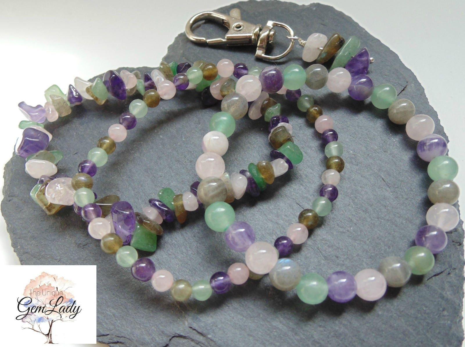 Anxiety  Stress Blend Bead Beaded Stretch Bracelet  Gemstone Crystal Healing  Amethyst Green Aventurine Labradorite Rose Quartz