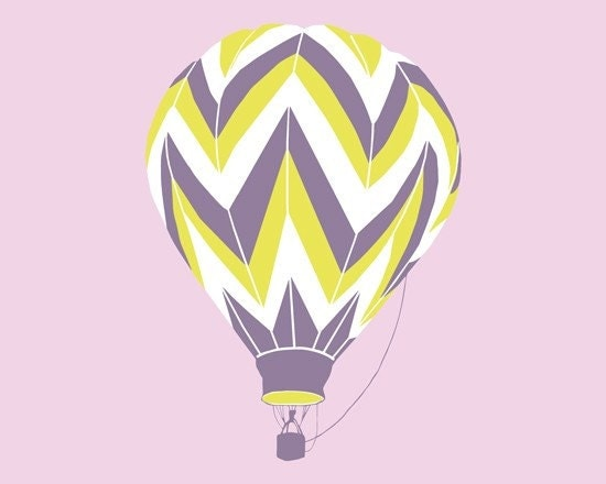 Chevron Pattern Hot Air Balloon Silhouette 13 x 19 Modern Art Print - different colors and sizes available