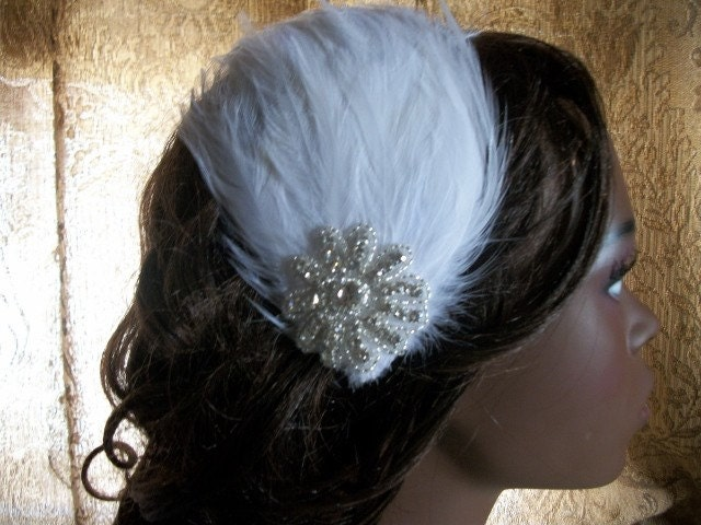 White Feather and Rhinestone Hair Clip