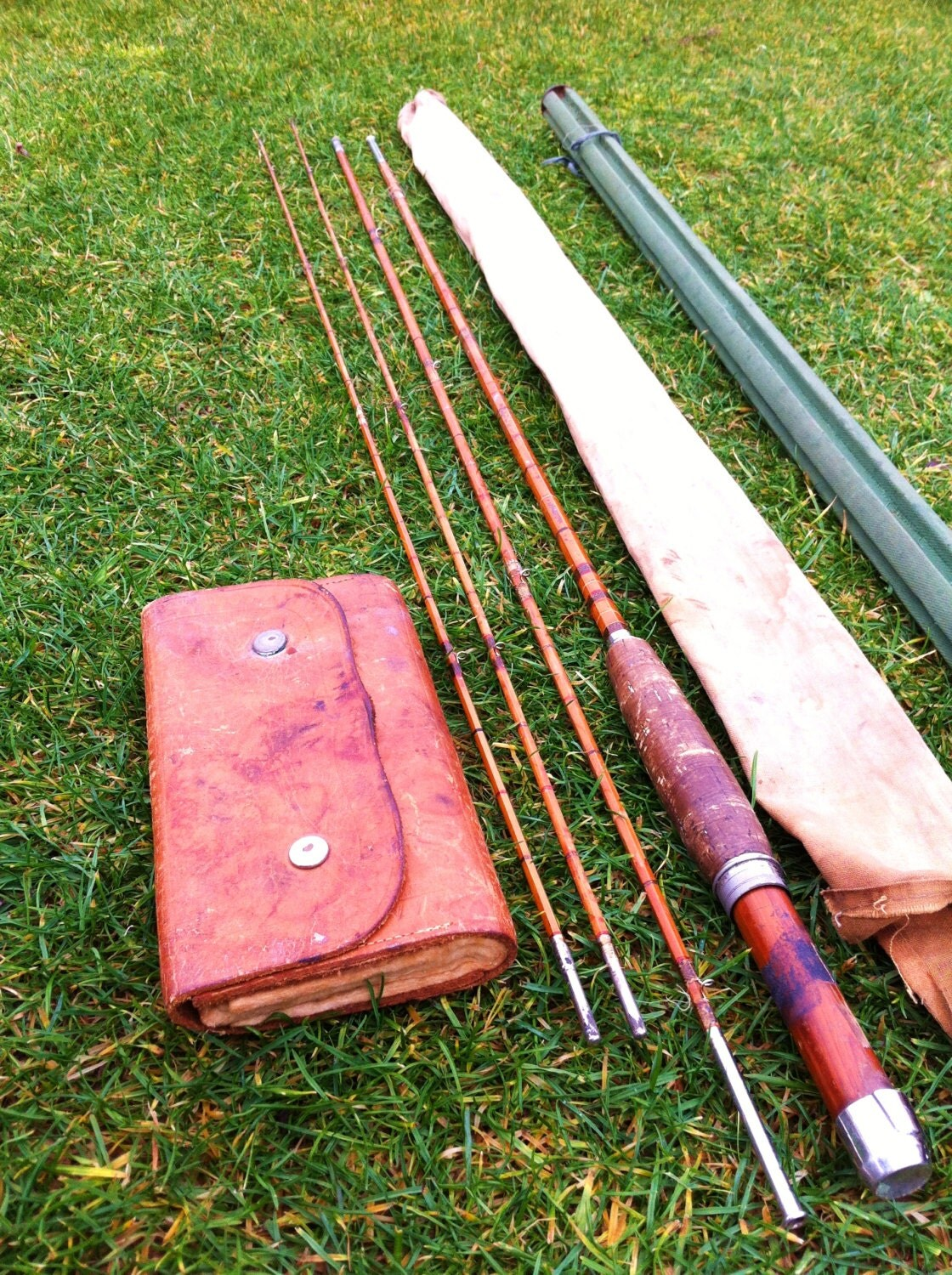 Antique 1930 39 s bamboo fly fishing rod 910 39 2 by for Antique bamboo fishing rods