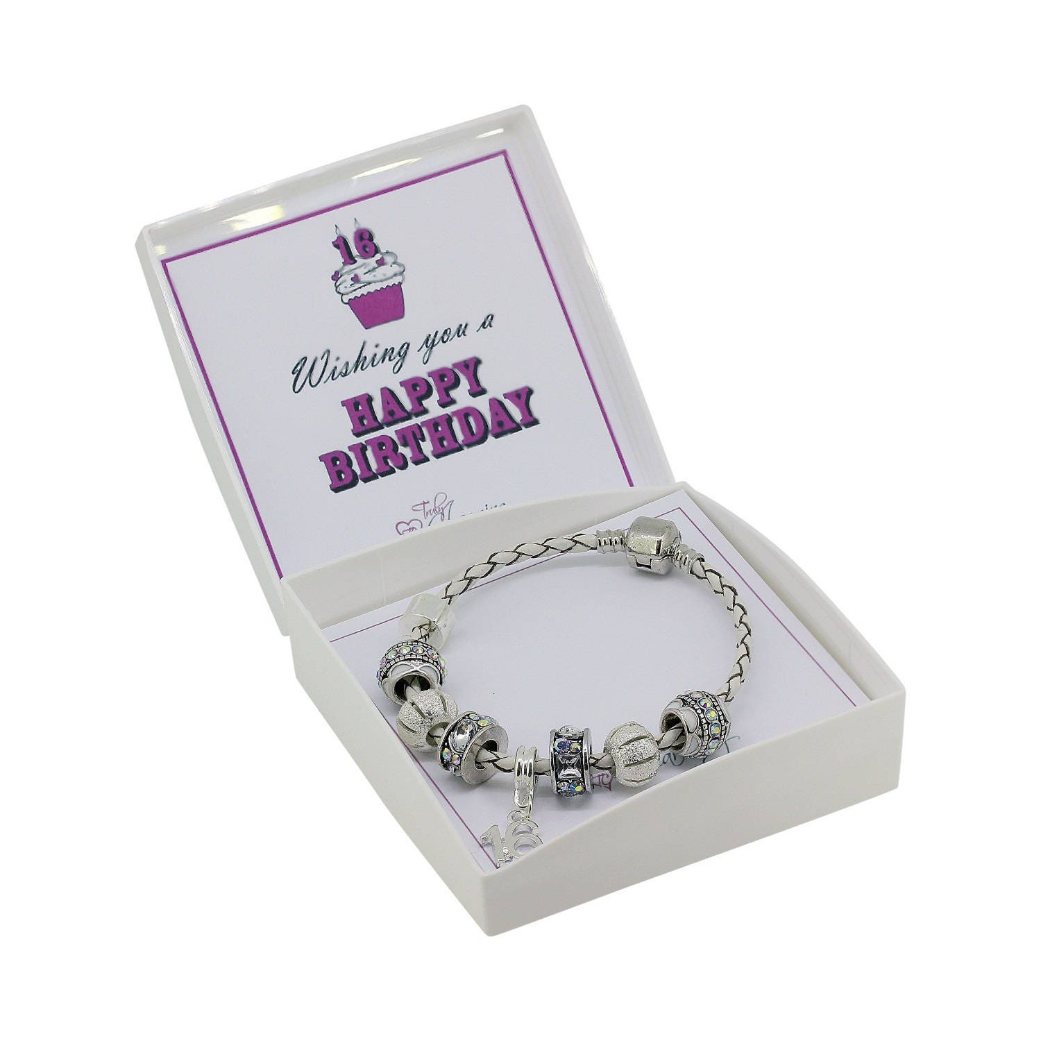 16th Birthday Leather Charm Bracelet European Style Gift Boxed 19cm or 21cm 4008