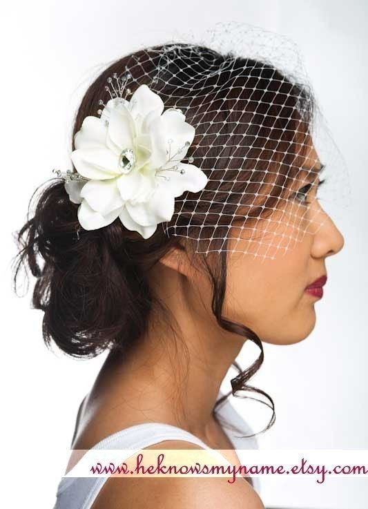 Garden Rose Headpiece and  Birdcage Veil - bridal flower headpiece, french veil, russian veil