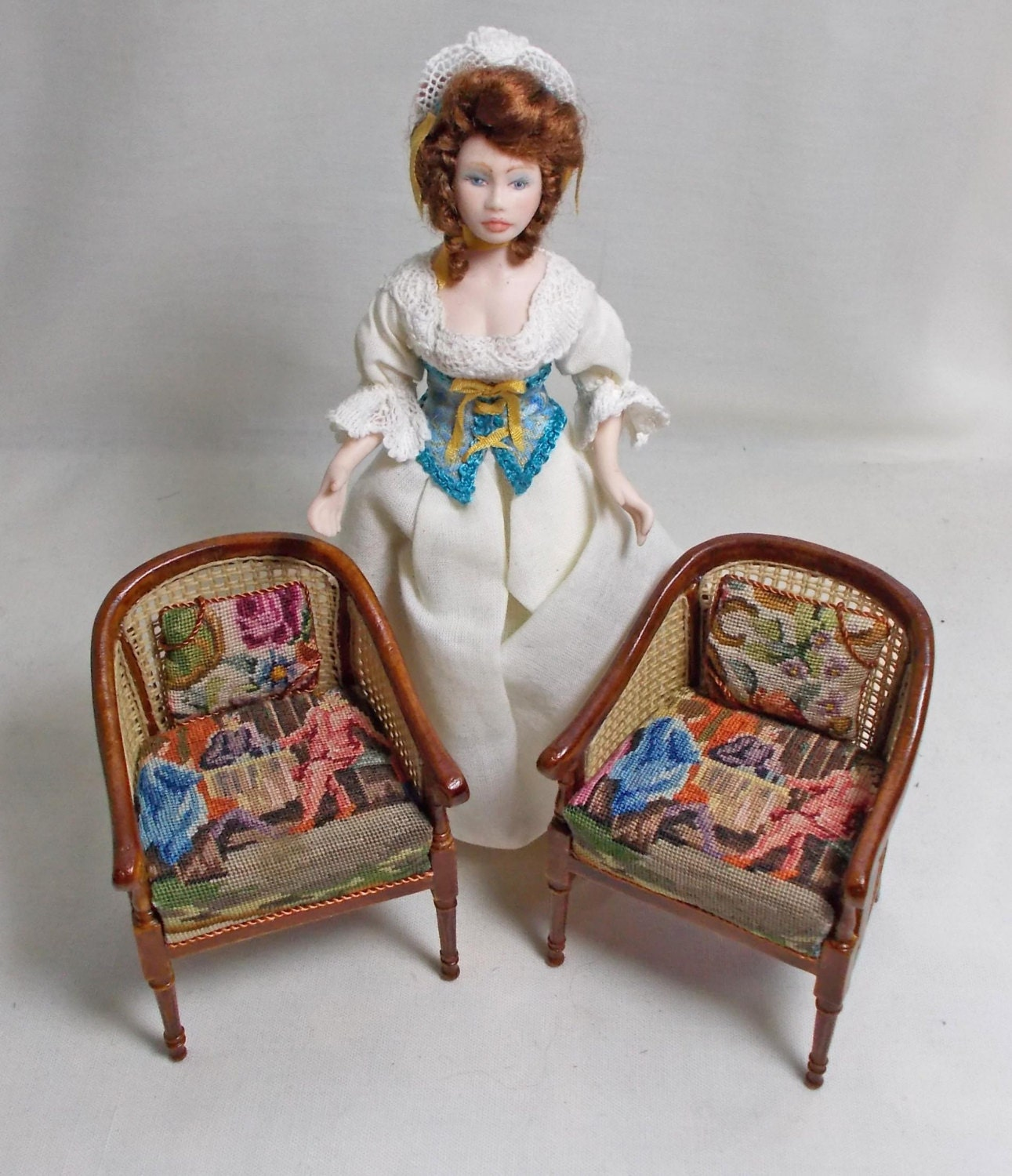 Dollhouse Pair of Canvas Tub  Club Chairs with Figural Antique Petit Point