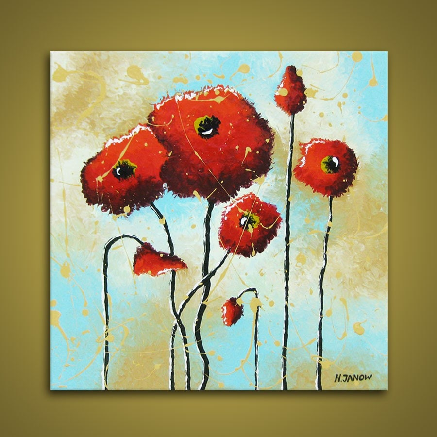 Flower Paintings Red Poppies Art