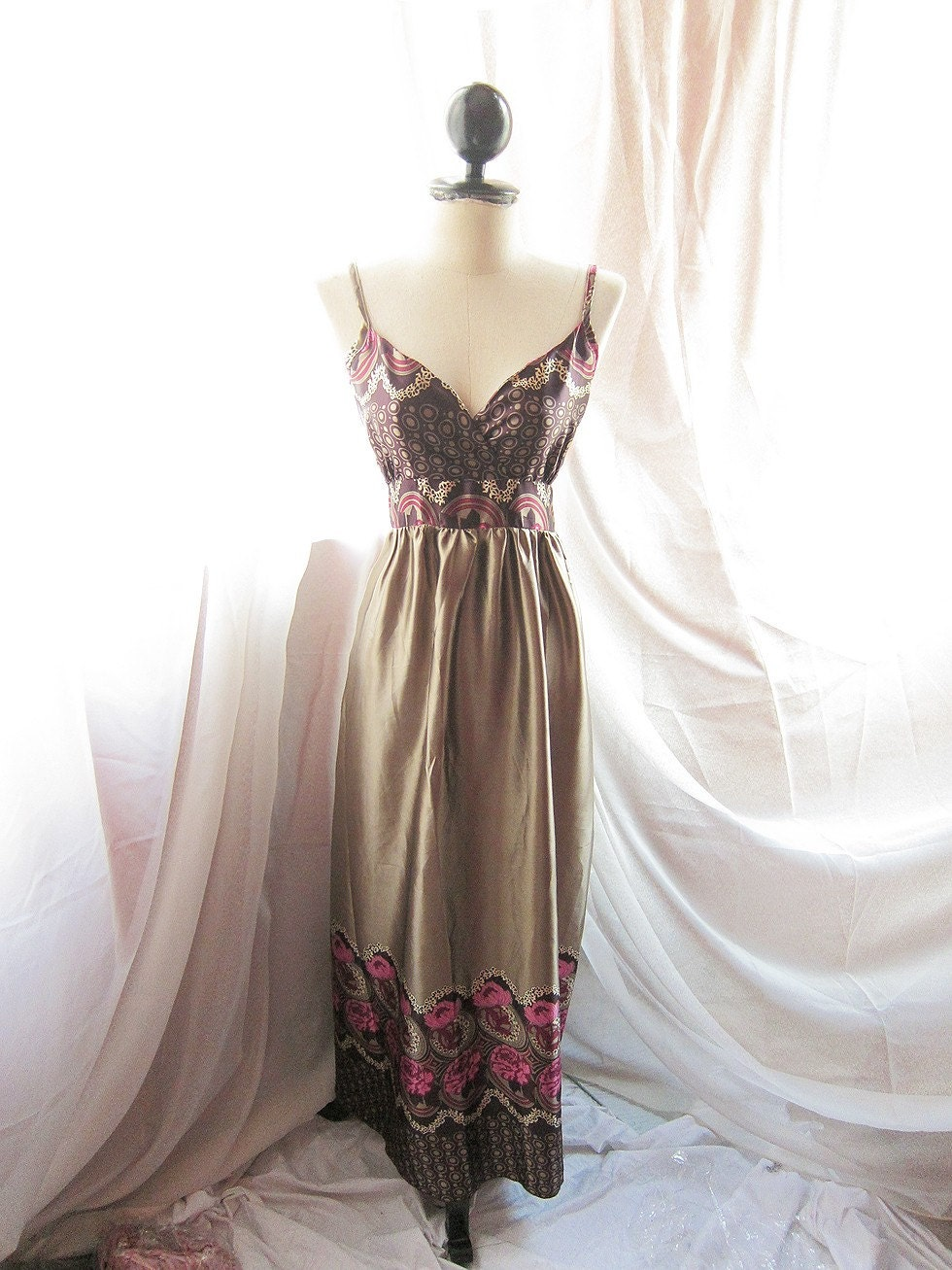 Seville Romance Venus Goddess Plum Peony Garland Motif Hippie Bohemian Dusty Olive Grayish Gold  Maxi Satin Dress Gown