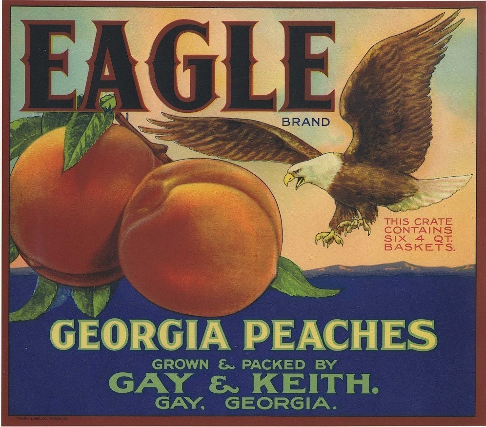 Eagle Brand Peaches Crate Label from Gay Georgia