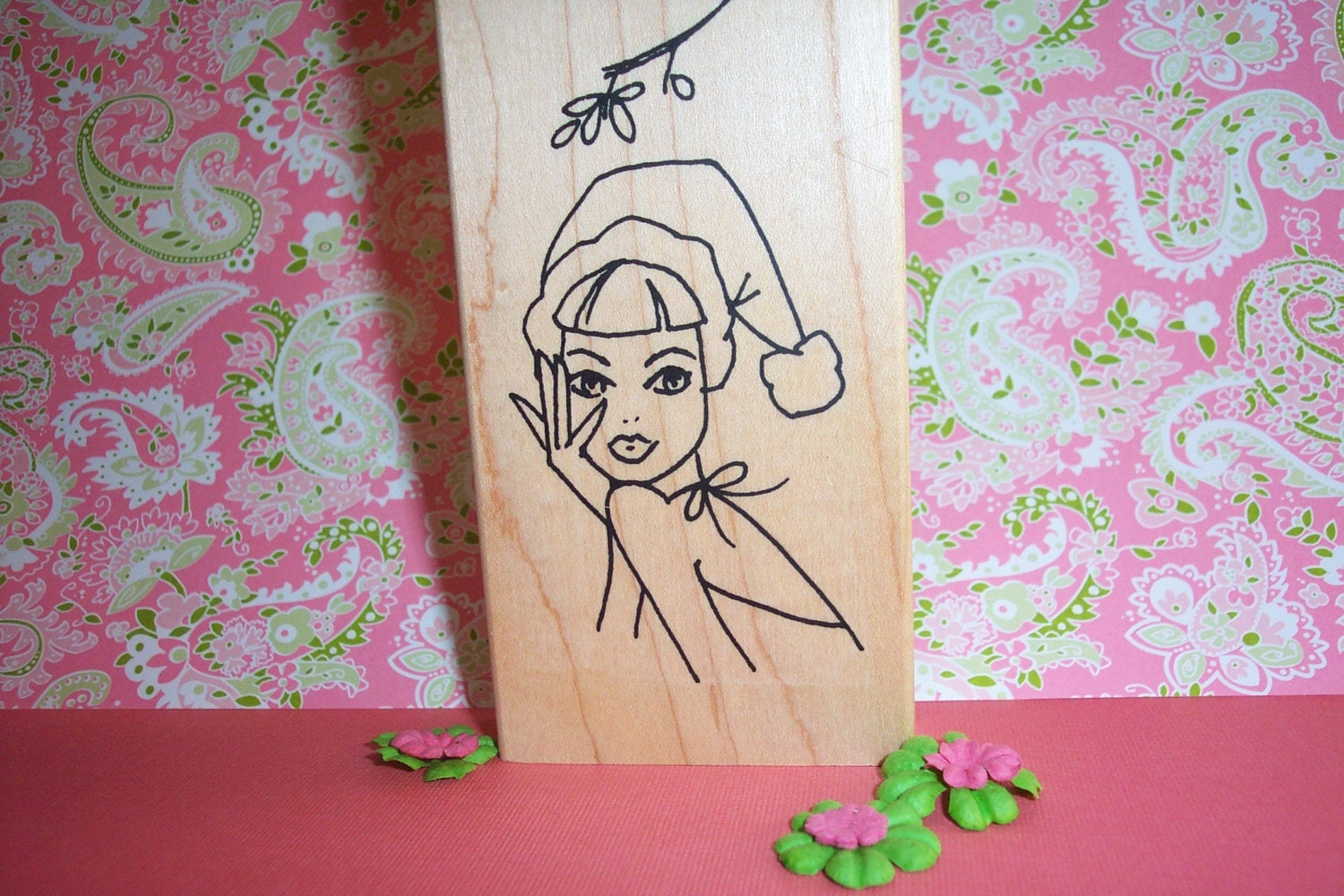 Rubber Romance UNMOUNTED Stamp - Kiss me you Fool -Christmas