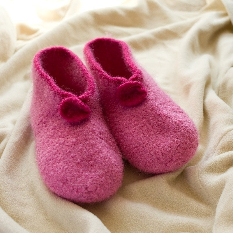 Colorful and cozy hand knitted wool slippers