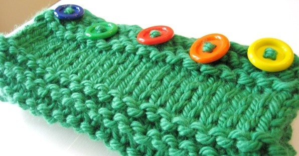 Rainbow  Brite  Green  Chunky  Knit  Cowl
