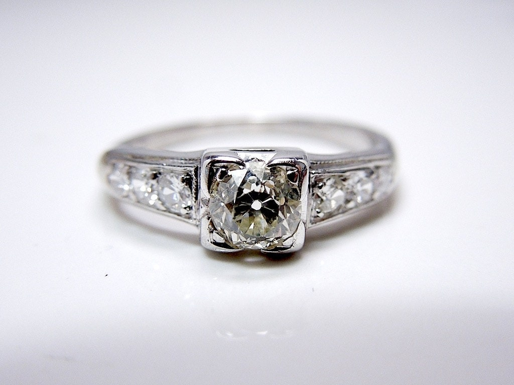 Old Mine Cut Diamond Engagement Ring By AJMartinJewelry On Etsy