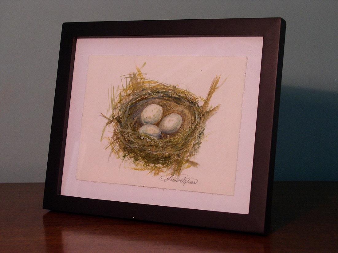 Nature Original Illustration Painting Nest No.2 Unframed 9 x 6