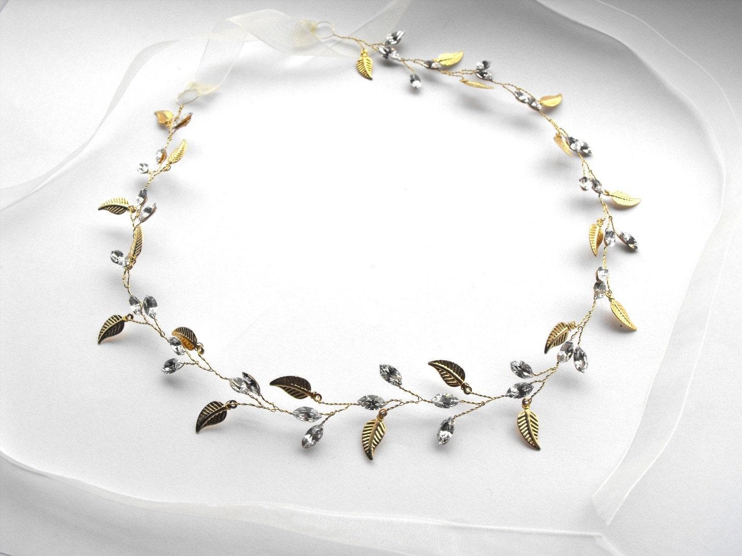 Diamante and Leaf grecian style headband