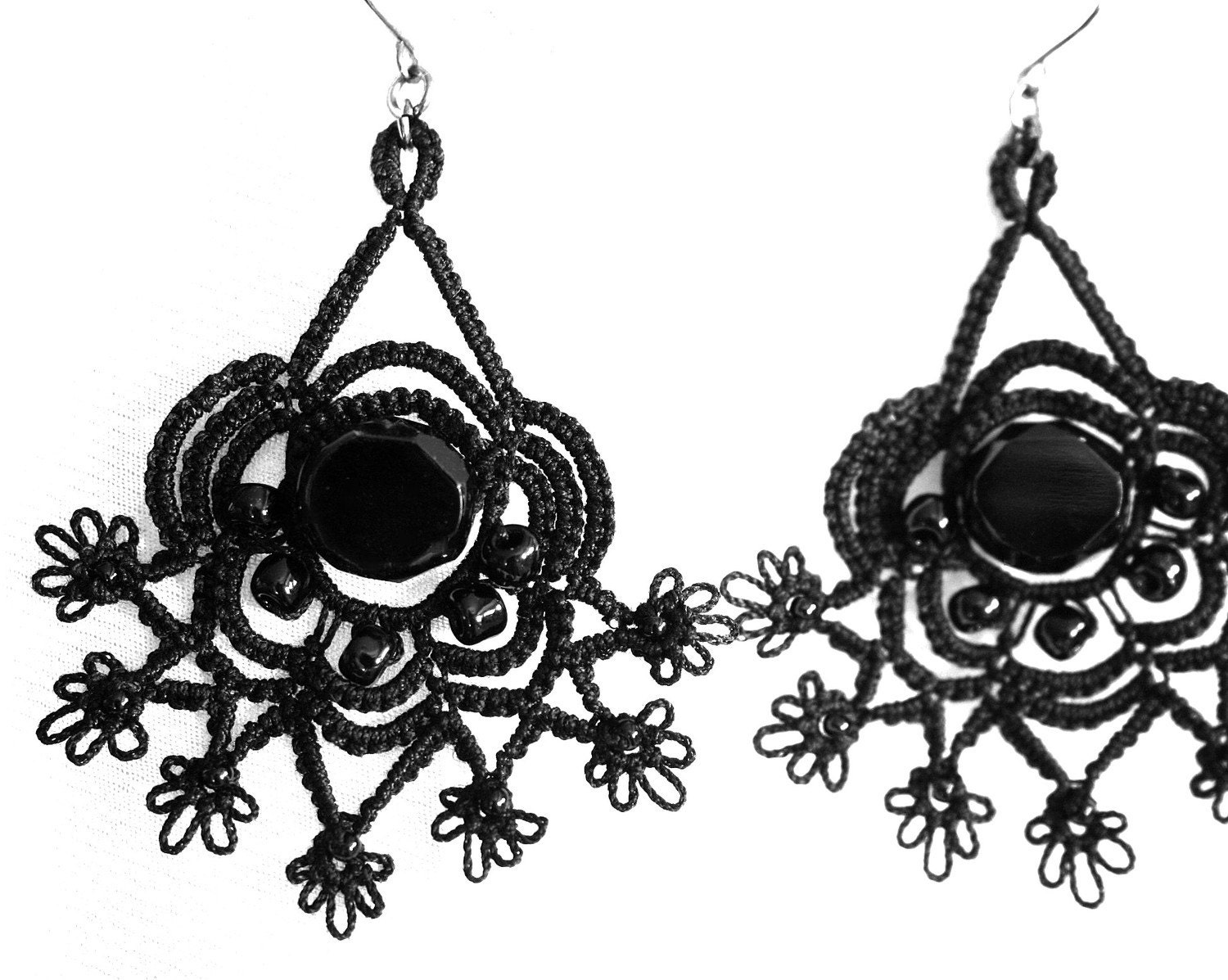 Black Glass Bead and Tatted Earrings