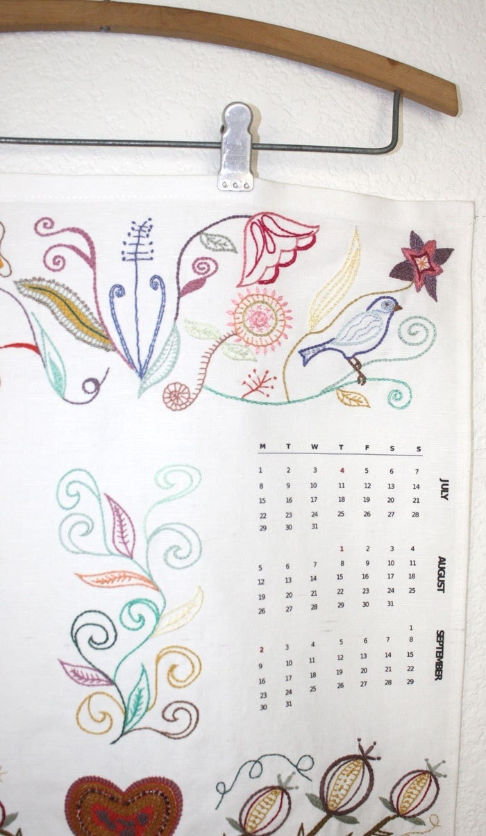 2013 Calendar Hand Embroidery Kit Pattern Needlework Wall Art Jacobean Fantasy DIY Tutorial Kit with Thread - Waterrose