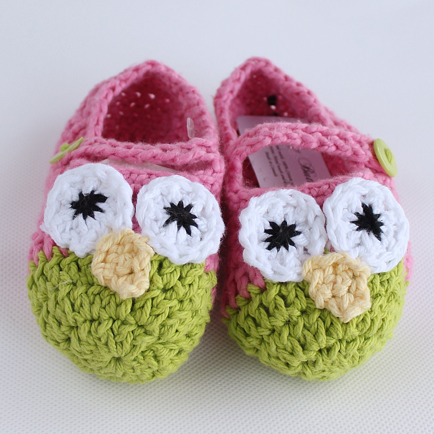 Pink and Green Owl Toddler Crochet Slippers Shoe by ...