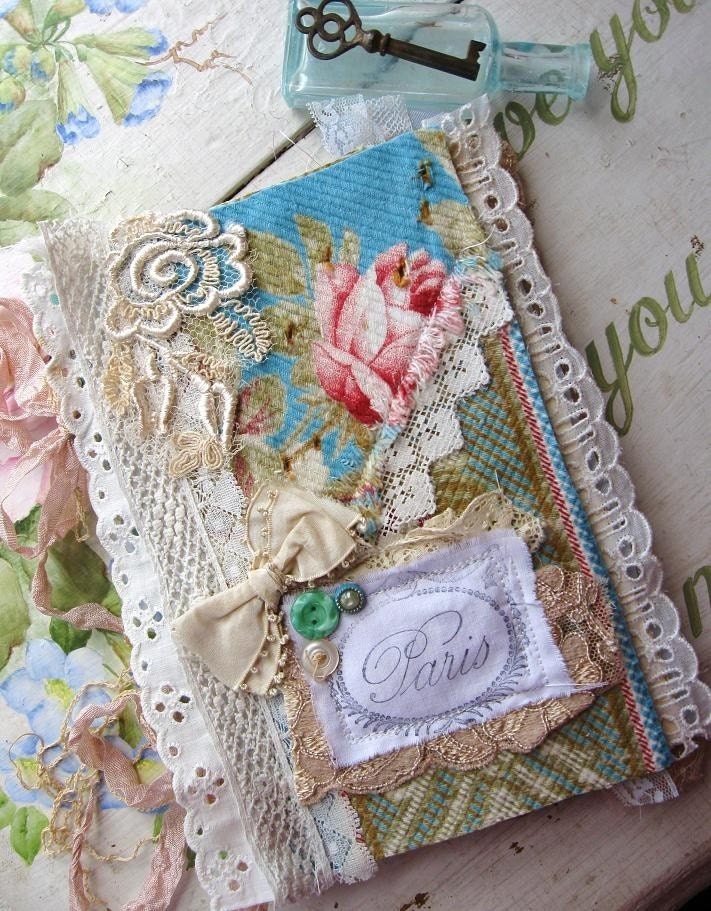 Fabric Hardcover Book : The paris rose journal antique fabric and lace by