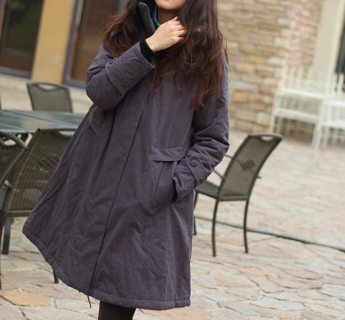 Winter Whisper / Winter hooded jacket coat / Gray cotton overcoat