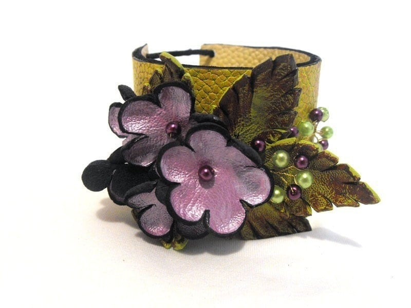 Leather bracelet. Branch green and violet leather floral cuff