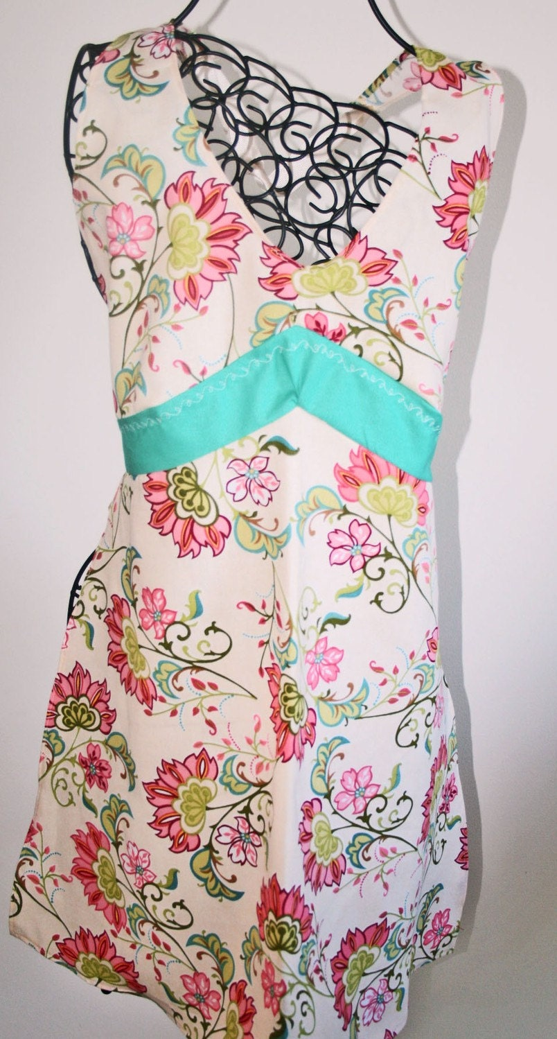 Spring Halter Apron with Pink and Cream Flowers