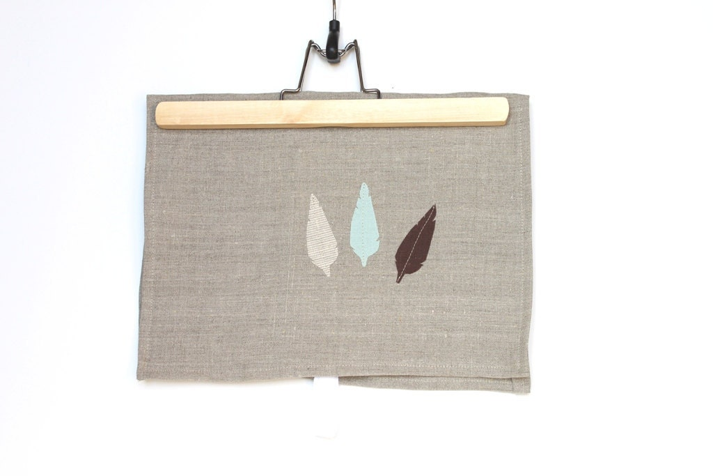 Rustic Linen Hemp Blend Tea Towel.  Kitchen Towel. Feathers. Oatmeal, Brown, Mint, Taupe. Foodie. Natural Home. Cook. Chef. Nature. - handmadetherapy