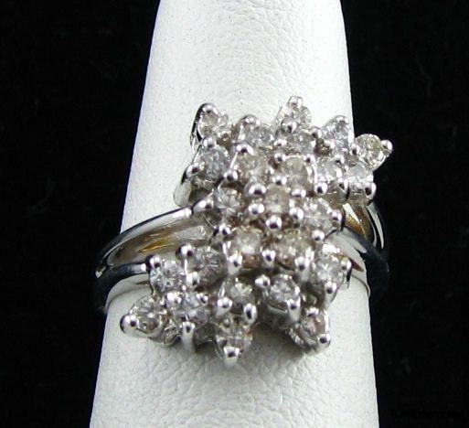 14k White Gold .88 CTW Diamond Cluster Cocktail Ring
