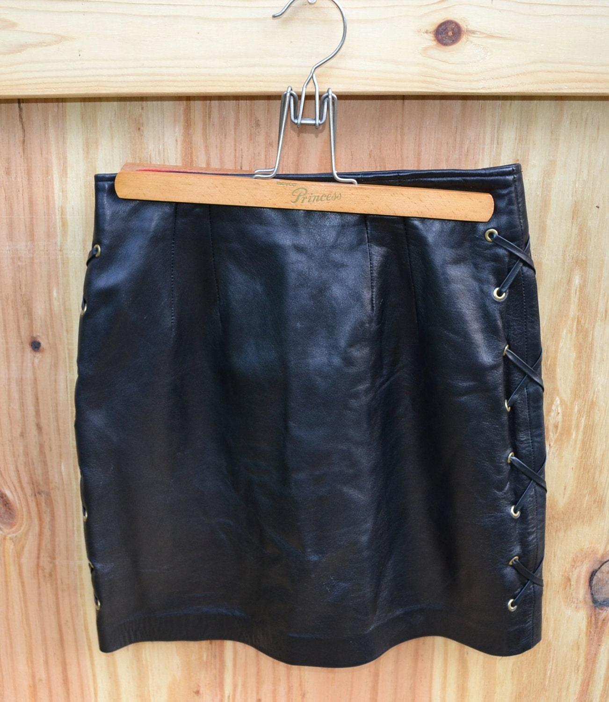vintage leather skirt womens vintage 1980s by founditinatlanta
