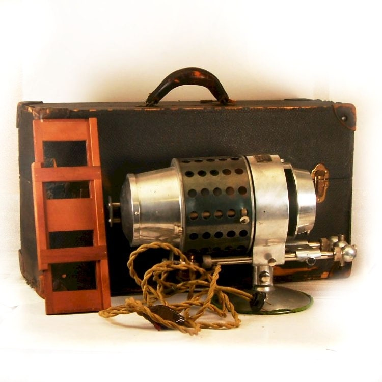 Vintage Stereopticon Projector with Large Trunk Case and Glass Plate Holder - BrassLens