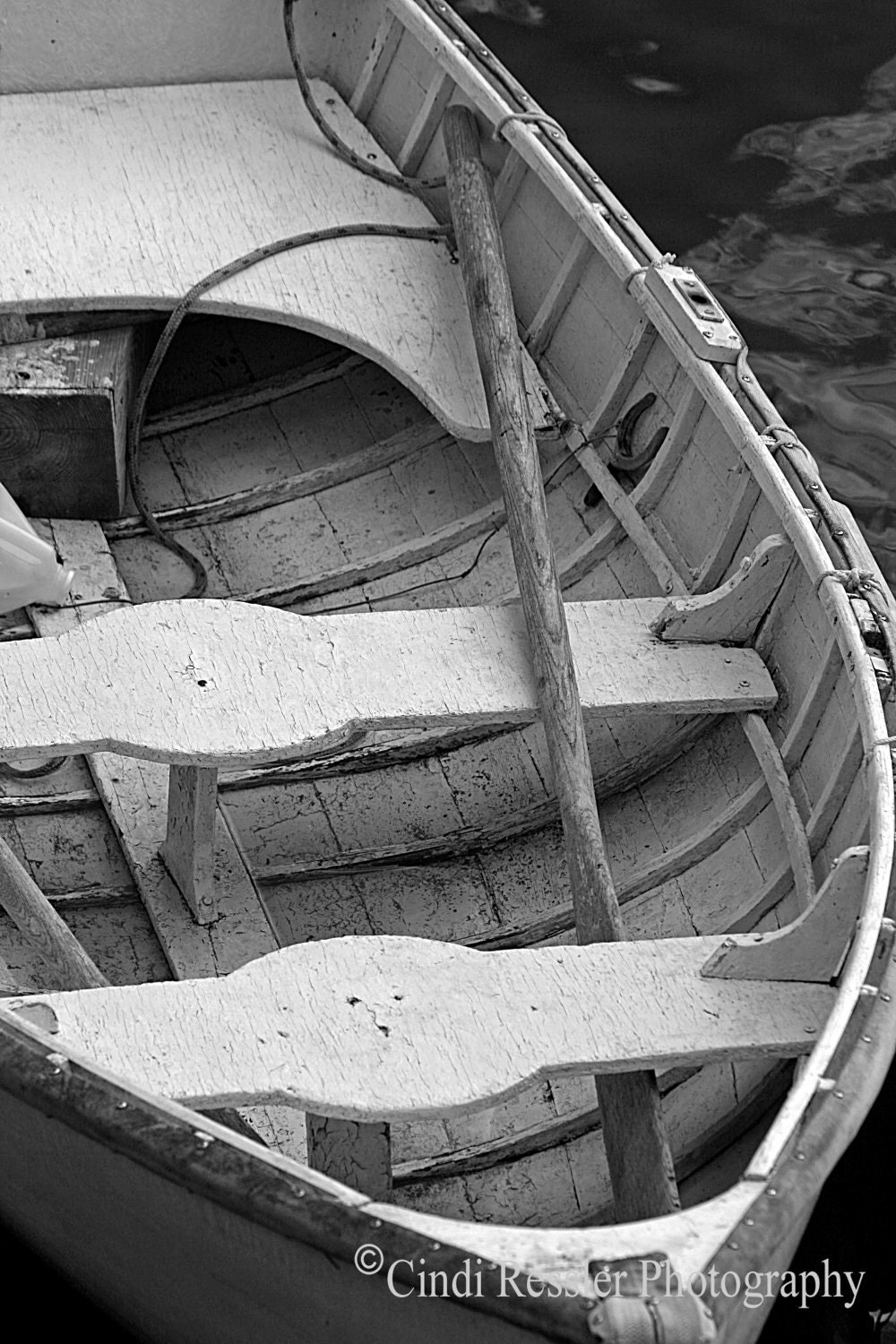 Wooden Row Boat, 5x7 Fine Art Photography, Black &White Photography, Nautical Photography - CindiRessler