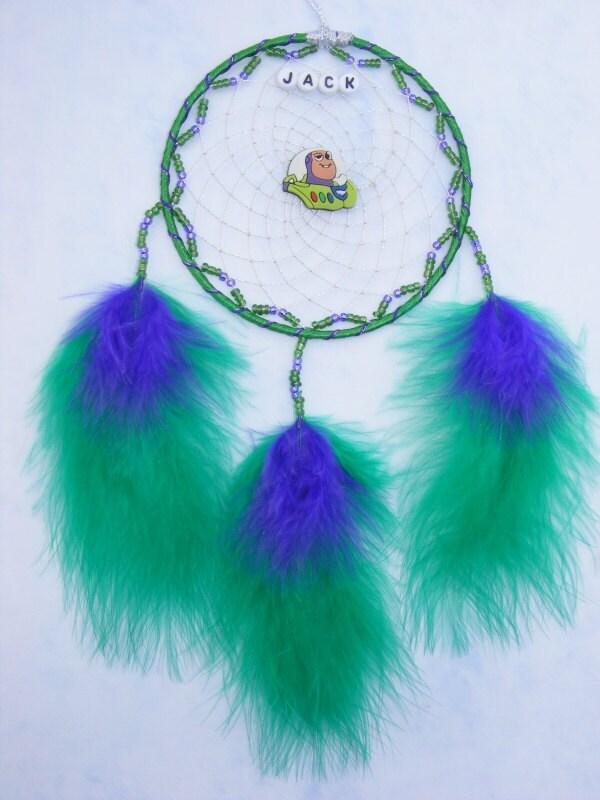 Buzz Lightyear Green purple Personalised dreamcatcher boys / girls bedroom gift present