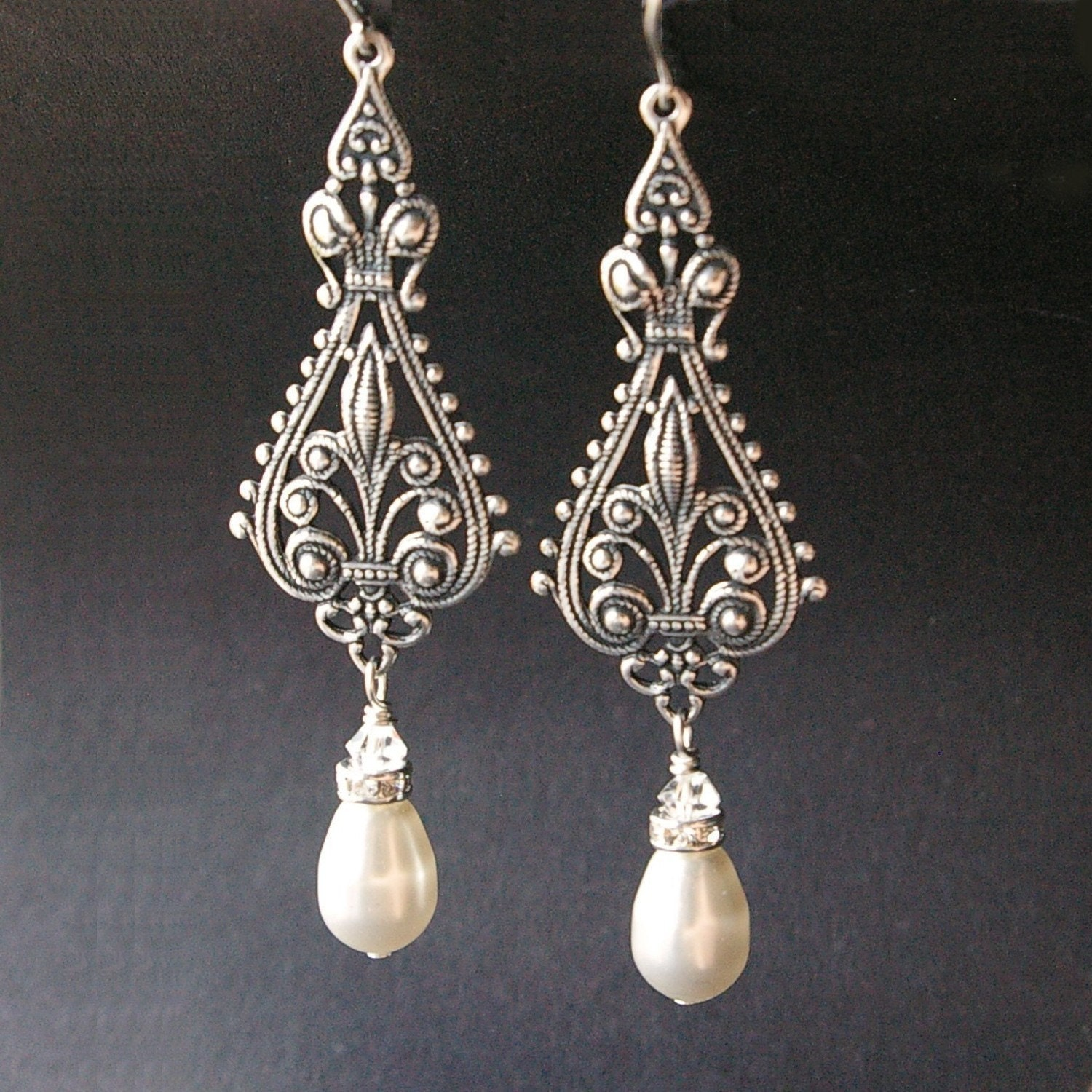Vintage Bridal Earrings Silver Filigree Earrings By Luxedeluxe
