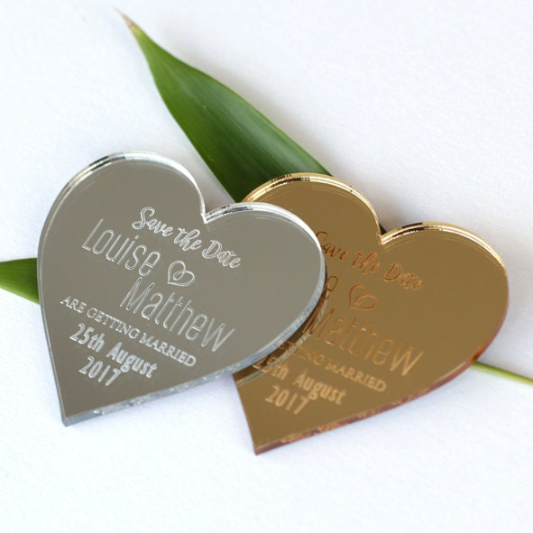 Save the date mirrored magnets mirrored save the date silver gold wedding magnets S3