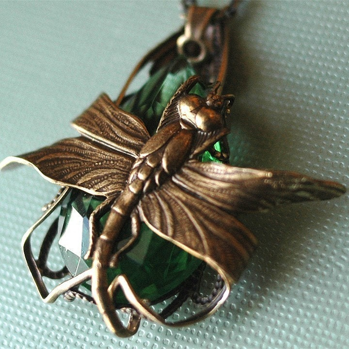 Handmade Jewelry on Etsy - First Flight - Absinthe - dragonfly pendant with vintage glass by bombalurina from etsy.com