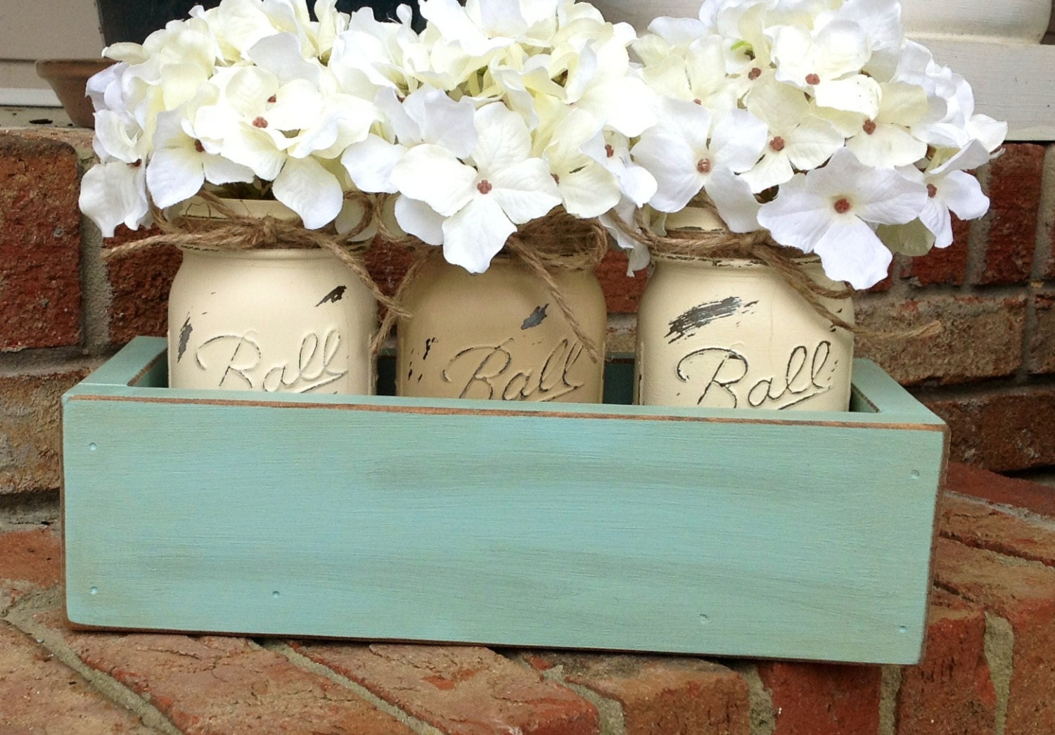Custom Made Rustic Planter Box with 3 Painted Mason Jars. Rustic. Rustic Home Decor. Wedding Decor. Primitive. Shabby Chic. Housewears. - Kateslittleshop